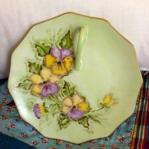 Vintage Green Floral Small Serving Dish w Handle